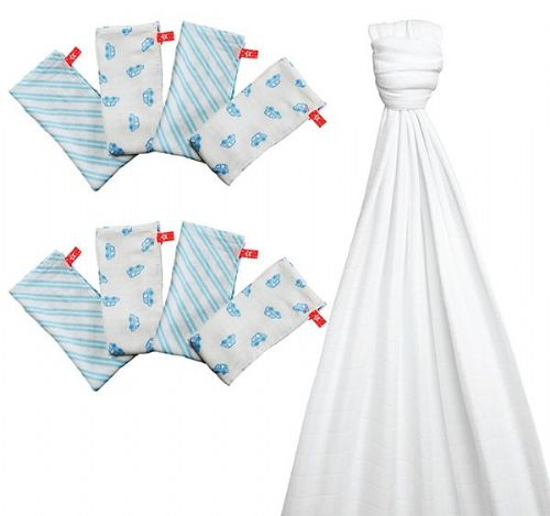 Bamboo Optic White Blanket & 2 Packs of 4 Muslins London